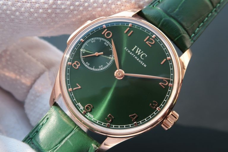 Copy Best IWC YLF Portuguese IW5242 Green Dial Gold Makers IWC WT01549
