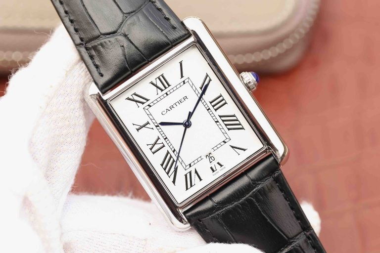 High Quality Cartier Tank White Dial Brown Leather Strap WT01375