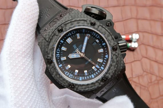 High Quality Imitation Hublot King Power OceanGraphic 4000 V6F Blue Markers Rubber Strap WT01520