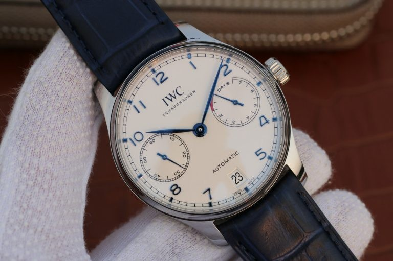 IWC Portuguese IW500705 White Dial Blue Markers Leather Strap WT01351
