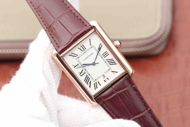 Replica Cartier Tank White Dial Brown Leather Strap WT01411