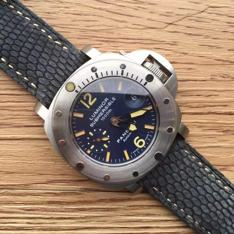 Replica High Quality Panerai Luminor Submersible PAM087 Blue Dial Leather Strap WT01365