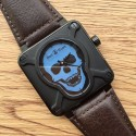 Bell-&-Ross BR 01 Skull Blue Dial Brown Leather Strap WT00760