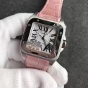 Luxury Replica Cartier Santos 100 33mm White Dial Pink Leather Strap WT01208