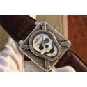 Replica AAA Bell-&-Ross BR01 Silver Case Burning Skull Tattoo Watch Silver Dial Leather Strap WT00764