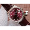 Rolex Day-Date 36mm 118139-L Red Dial Stick Markers Brown Leather Strap Rolex WT01276