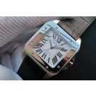 Fake AAA Cartier V6 Santos 100 41mm White Dial Black Leather Strap WT01492
