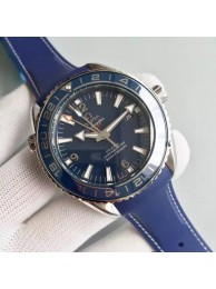 Best Quality Omega Planet Ocean GMT Blue Dial Silver Markers Blue Rubber Strap Omega WT00942
