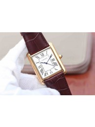 Cartier Tank White Dial Brown Leather Strap WT00866