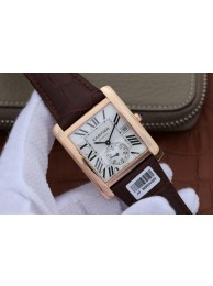 Copy Cartier Tank MC White Textured Dial Brown Leather Strap Cartier WT01070