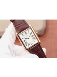 Fake Cheap Cartier Tank W1560017 White Dial Brown Leather Strap Cartier WT01580