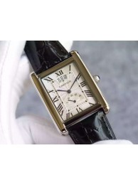Fashion Knockoff Cartier Tank W1560003 White Textured Black Leather Strap WT01330