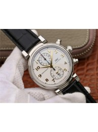 High Quality IWC Da Vinci Chrono IW3934 White Dial Gold Markers Black Leather Strap WT01434