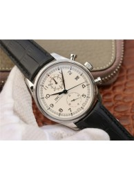 IWC Portugieser Chrono Classic 42 IW390403 White Dial Blue Hand Leather Strap WT01783