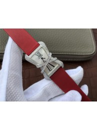 Luxury Cartier High Jewelry Watches WJ306014 White Dial Red Fabric Strap WT01662