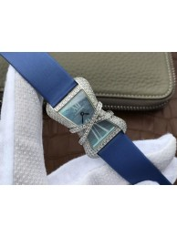 Replica Cartier High Jewelry Watches WJ306014 Blue Dial Blue Fabric Strap WT01055