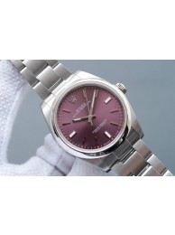 Replica Designer Rolex Oyster Perpetual 39mm 114300 Red Grape Dial on Bracelet WT00723