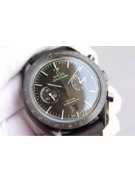 Replica Omega Speedmaster Moonwatch Co-Axial Chronograph Pitch Black Leather WT01202